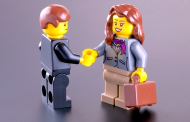 Business meeting of Lego minifigures